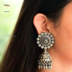 """""""Jhumri"""" The Detailed Peacock Handcrafted Jhumka with The Mini Flower Classic Motif. Add a Grand Touch To Your Ethnic Look with this piece of art. Silver Hallmarked For orders DM or reach us or visit our website (www. Silver Earrings Online, Indian Jewelry Earrings, Jhumki Earrings, Jewelery, Silver Jewelry, Silver Jhumkas, Ethnic Looks, Making Ideas, Earring Set"""