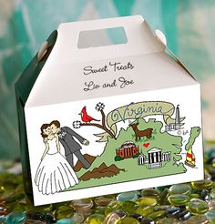 For those of you planning a #weddinginVirginia, this design is hot off the presses. These sturdy wedding favor goody boxes ship flat, in one piece & set-up in a flash. At $2.09 apiece, minimum order of 50, your wedding guests will appreciate your thoughtfulness. Printed on both sides. See more wedding favor options at www.favorsyoukeep.com/favorGableBoxes.html or call 512.323.0600 ~ Our 27th year! #virginiaweddingideas #virginiaweddingfavors #cuteweddingfavors #cheapweddingfavors…