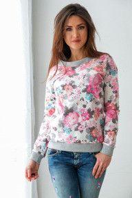 Bawełniana bluza w kwiaty