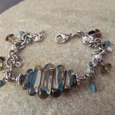 Cream Blue and Brown Lampwork Charm Bracelet by WireNWhimsy, $58.00