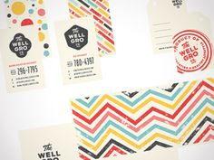 Karl Hébert. Paper System for The Well Gro Co. chevrons, color, distress. typography | Business Card & Identity Design