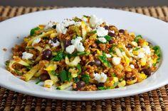 Zucchini and Corn Taco Seasoned Quinoa Salad... Would use ground turkey instead if quinoa