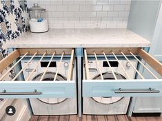 Pull-out drying racks!'ing this solution - - can find Laundry closet and more on our website.Pull-out drying racks!'ing this solution - - Laundry Room Drying Rack, Laundry Room Organization, Clothes Drying Racks, Organizing, Laundry Room Remodel, Laundry In Bathroom, Laundry Closet, Small Laundry, Laundry Shoot