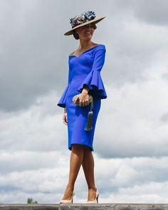 @roressclothes clothing ideas #women fashion blue dress, hat