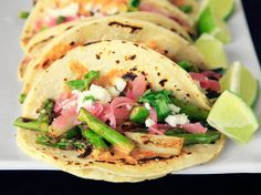 Charred Asparagus Tacos with Creamy Adobo and Pickled Red Onions