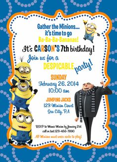 X Printable Despicable Me Minion Birthday Invitation Minion - Party invitation template: minion birthday party invitations templates
