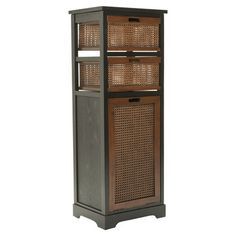 Storage Shelf with wicker baskets and bin. This would be great in a kitchen or bathroom.