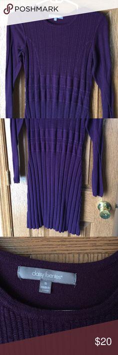 Purple sweater dress Warm, cozy, great used condition. Very pretty purple Daisy Fuentes Dresses Midi