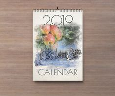 2019 Nature Watercolor Calendar by BesaWorkshop on Etsy Creative Calendar, 2019 Calendar, All Design, Watercolor, Nature, Prints, Handmade, Stuff To Buy, Painting