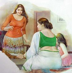 Mohan Manimala , Art, female figures, Beauty, curves Source by telwend Indian Women Painting, Indian Art Paintings, Sexy Painting, Woman Painting, Beautiful Girl Indian, Most Beautiful Indian Actress, Indian Drawing, Girl Faces, Indian Art Gallery