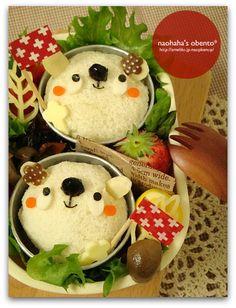 Polar bear cup sandwich bento