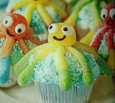 kids cupcakes ideas | Cute octopus cupcakes | Kid Party ideas  Love muffin and this look so easy:)