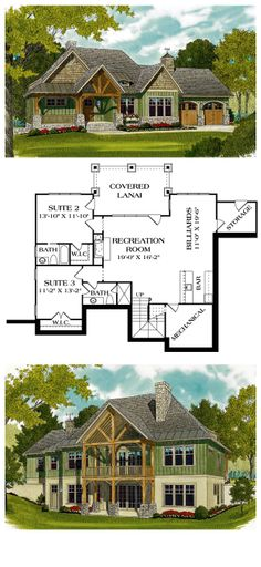 COOL House Plan ID: chp-45516 | Total living area: 2764 sq ft, 3 bedrooms & 4 bathrooms. #finishedbasement #houseplan