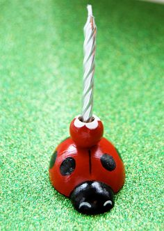 Ladybug Cupcake Topper Candle Holder by CupcakeSocial on Etsy, $12.00
