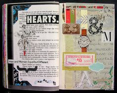 Pg83-84 5 x 9 in / 15 x 23 cms. double-page book spread. collage on paper. Altered Book. Life  Norwegian wood [ Tokio Blues ] / Haruki Murakami. Fragment. Page # 382 Book Preview: Google Books books.google.com/books?id=1EhPf1ZptXwC