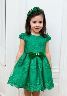EMERALD GREEN FLORAL PRINCESS DRESS