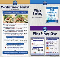 The Mediterranean Market and nearby Wine and Hard Cider Tasting food booth menu boards and prices for the 2018 Seven Seas Food  Festival at SeaWorld, Orlando.