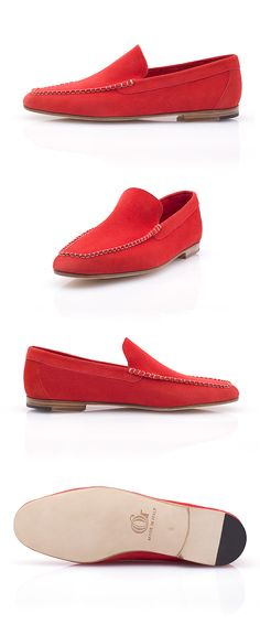The Porto Cervo is a stylish and colorful Venetian loafer designed to accompany you in your summer getaways. Made of calf buckskin, the Porto Cervo is an extremely comfortable moccasin that you can perfectly wear sockless. Venetian, Moccasins, Loafers Men, Calves, Oxford Shoes, Dress Shoes, Slippers, Colorful, Luxury