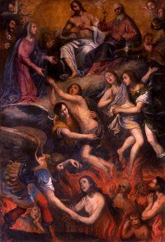Intercession de la Vierge et de saint Joseph auprèsde la Trinité pour les âmes du purgatoire;Giuseppe Badaracco;église Saint-Jean-Baptiste,Bastia,
