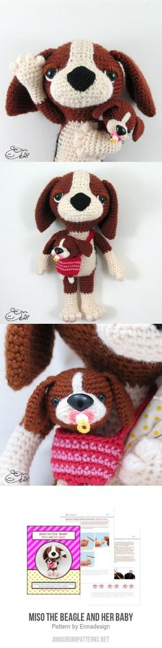 Miso the Beagle and her baby amigurumi pattern