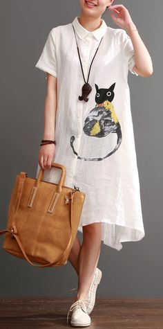 Naughty cat print summer linen maxi dress oversize linen sundresses white