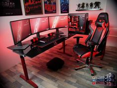 Ultimate Gaming Room Setup Designs with Badass Red Computer Design - Best Video Game Room Ideas: Cool Gaming Setup, Room Designs and Decorations Gaming Setup, Computer Setup, Pc Setup, Gaming Chair, Computer Technology, Computer Gaming Room, Gaming Rooms, Gaming Desktop, Gamer Room