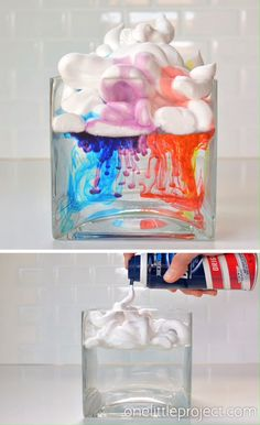 This shaving cream rain clouds experiment is a fun and relatively easy activity to do with kids. You can turn it into a Science Experiments For Preschoolers, Science Projects For Kids, Science Crafts, Cool Science Experiments, Craft Activities For Kids, Science For Kids, Preschool Crafts, Diy Crafts For Kids, Toddler Activities