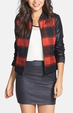 Feeling this whole outfit especially the plaid baseball jacket.