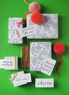 Download and print out 3 gift wrap papers and two sets of 5 gift tags. All free, and all illustrated & designed by Lisa Tilse exclusively for We Are Scout.