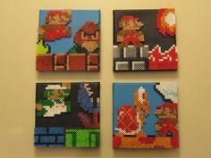 Super Mario Brothers Character Montage (Set of 4) Perler Beads on Canvas Piece. $130.00, via Etsy.  I want these but it would prolly be cheaper to make it myself