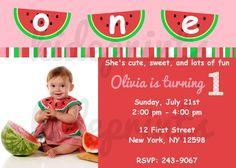 printable pink watermelon birthday invitation   summer girl, Birthday invitations