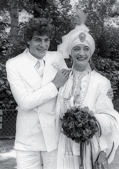 Thadée Klossowski de Rola and de la Falaise on their wedding day in Paris, June 1977