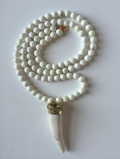 Long Boho Beaded Winter White Turquoise and Brass Horn Necklace