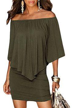 Fiyote Robe courte à volants sexy Épaules dénudées - Vert - Small