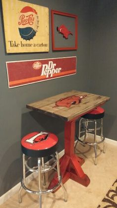 Arkansas Razorback table, vintage pepsi sign, vintage Dr. Pepper sign
