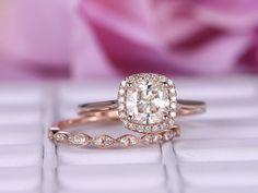 Cushion Moissanite Engagement Ring Sets Art Deco Diamond band 14K Rose Gold 6.5mm - 7.75 / 14K Rose Gold