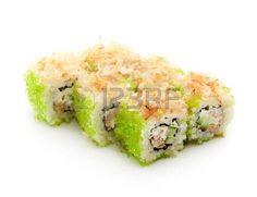 Maki Sushi - Rolls con At�n frito, pepino, queso crema y el interior de Tobiko. Rematado con bonito seco Afeitado photo