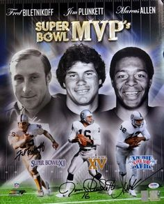 Fred Biletnikoff, Jim Plunkett & Marcus Allen Autographed 16x20 Photo Oakland Raiders Super Bowl MVP's PSA/DNA