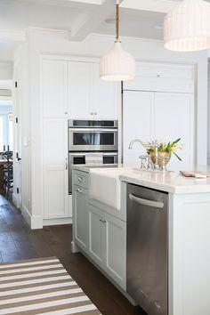 Blue Gray Kitchen Island Paint Color. White kitchen with blue gray kitchen island. #BlueGray #Kitchen #Paintcolor Rita Chan Interiors.