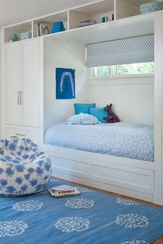 Great use of space, leaving the floor open and yet maintain plenty of storage!  Perfect for kids or guest!