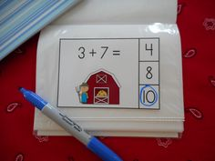 FREEBIE!!! Put Farm Kids Addition Math Center cards in a dollar store photo album to make a dry erase math center activity. #farm #addition #freebie http://www.teacherspayteachers.com/Product/Farm-Kids-Addition-Math-Center-Sums-of-0-10-832468