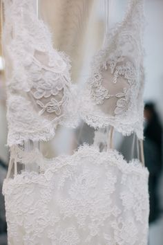 Illusion Details / Backstage at Reem Acra Spring 2016 Bridal / Photo: The LANE
