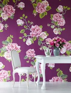 floral pattern wallpaper, realism and use of colour. Wallpaper Uk, Fabric Wallpaper, Designer Wallpaper, Wallpaper Ideas, Floral Pattern Wallpaper, Purple Interior, French Country Decorating, Wall Treatments, Beautiful Patterns