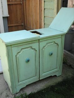 My sewing cabinet painted mint green Craft Space, Space Crafts, Sewing Cabinet, Sewing Tables, Sewing Rooms, Painting Cabinets, Hope Chest, Furniture Making, Furniture Makeover