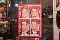 En la Emolienteria Bar 28 de Agosto – 31 de Octubre del 2014 / Poster stamp Santa Rosa and Marilyn / Fotos: Yulia Katkova