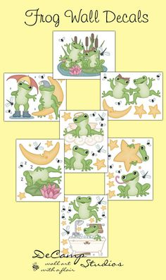Frog wall decals for baby boy or girl nursery or children's froggy room decor. Frog on the moon, angel frog, bath time frog, and many other poses with dragonflies, flies, and stars #decampstudios