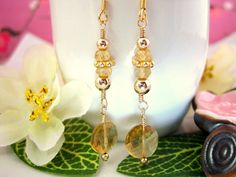 Gold citrine coin drop earrings by KBlossoms on Etsy, $40.00