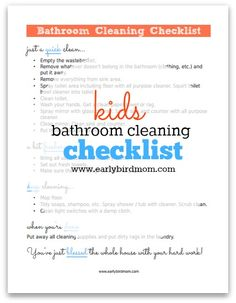 Want to teach your kids how to clean the bathroom thoroughly? Download this free Kid's Bathroom Cleaning Checklist printable from Early Bird Mom.