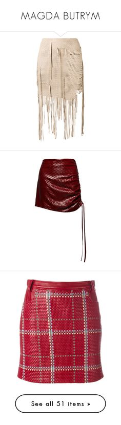"""MAGDA BUTRYM"" by mari-sv ❤ liked on Polyvore featuring skirts, mini skirts, short mini skirts, pink mini skirt, pink silk skirt, mini skirt, woven skirt, red, draped mini skirt and red leather skirt"