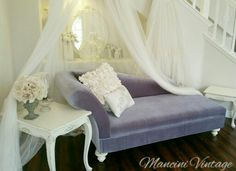 #mancinivintage #romantic #vintage #white #fainting #sofa #couch #french #nestingtables #ornate #chateau #shabbychic #cottage #chaise